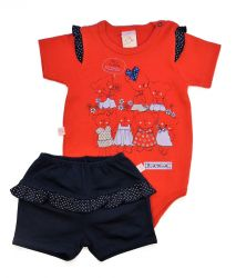 Conjunto de Bebê Amigas - Body e Shorts