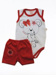 Conjunto Body e shorts bebê - Ursinha de Laço