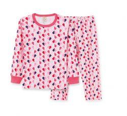 Pijama Infantil Manga Longa Feminino - Corações