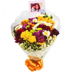 Buquê com flores do campo médio personalizado com foto