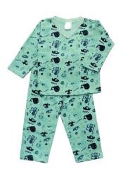Pijama de bebê flanelado -  Baleia