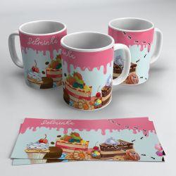 Caneca Doces Cupcake e Bolo