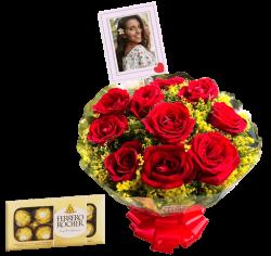 Buquê com 10 rosas personalizado com foto e caixa com 8 chocolates Ferrero Rocher