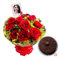 Buquê com 10 rosas personalizado e bolo brigadeiro